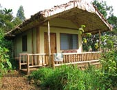 Engagi accommodation in ensuite chalets overlooking the Bwindi impenetrable forest