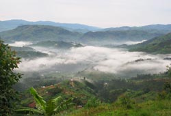 Early morning mist rising out of the Rwandan valleys